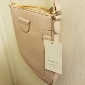 Pewter pink cross body purse